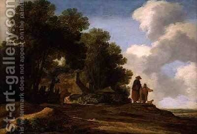 Wooded landscape with figures conversing 1637 by Pieter Molijn - Reproduction Oil Painting