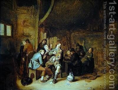 Figures smoking and playing music in an inn by Jan Miense Molenaer - Reproduction Oil Painting