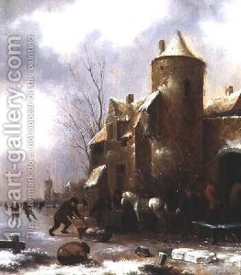 Winter landscape by Claes Molenaar (see Molenaer) - Reproduction Oil Painting