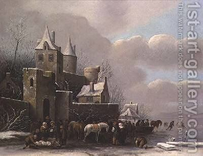 Winter Scene by Claes Molenaar (see Molenaer) - Reproduction Oil Painting