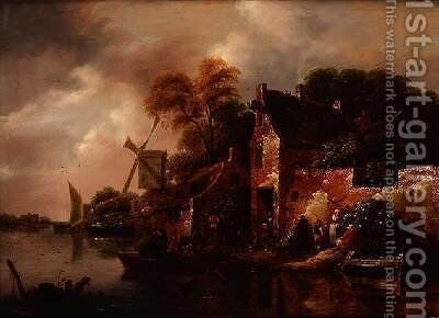 Houses and a Windmill by a River with Boats and Fisherfolk by Claes Molenaar (see Molenaer) - Reproduction Oil Painting