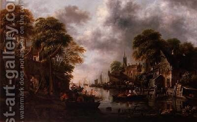 River Scene with Boats and Figures by Claes Molenaar (see Molenaer) - Reproduction Oil Painting