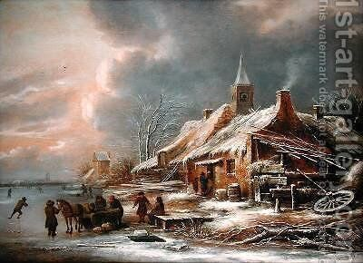 Winter Landscape 3 by Claes Molenaar (see Molenaer) - Reproduction Oil Painting