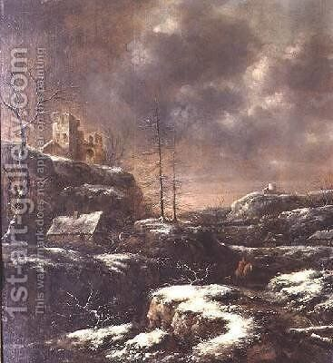 Winter Scene 3 by Claes Molenaar (see Molenaer) - Reproduction Oil Painting