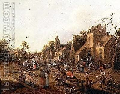 Peasant Merrymaking Outside a Village Inn by Claes Molenaar (see Molenaer) - Reproduction Oil Painting