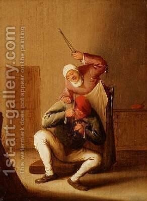 A Wife Beating her Husband by Bartholomeus Molenaer - Reproduction Oil Painting