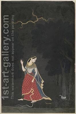The Heroine Who Goes to Meet Her Lover at an Appointed Place by (attr. to) Mola Ram - Reproduction Oil Painting