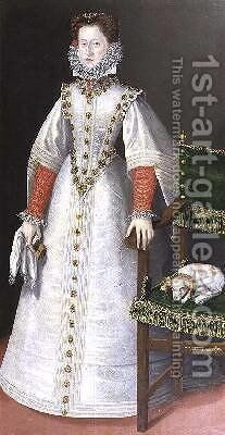 Portrait of a lady said to be Polyxena Pernstein 1566-1642 1590 by (attr. to) Mois, Roland de - Reproduction Oil Painting