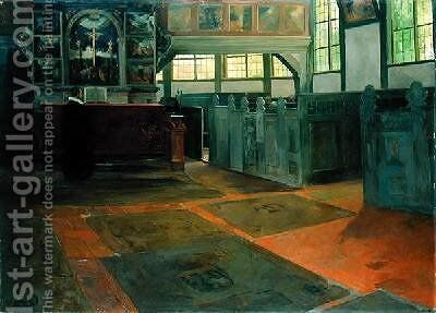 The Church of Allermohe 1895 by Alfred Mohrbutter - Reproduction Oil Painting