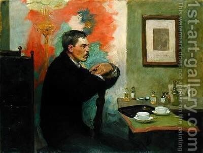 The Painter Julius Wohlers in his Studio 1895 by Alfred Mohrbutter - Reproduction Oil Painting