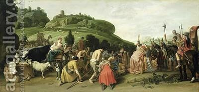Joseph Receives his Father in Egypt 1628 by Claes Cornelisz Moeyaert - Reproduction Oil Painting