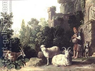 Goatherd playing the bagpipes by Claes Cornelisz Moeyaert - Reproduction Oil Painting