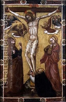Christ Crucified Painted Processional Banner by Barnaba Da Modena - Reproduction Oil Painting