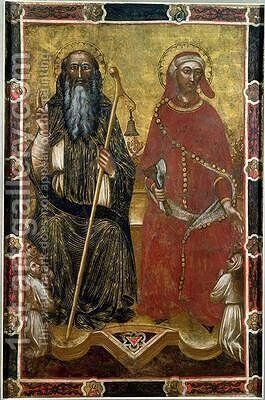 Saints Anthony Abbot and Eligius by Barnaba Da Modena - Reproduction Oil Painting