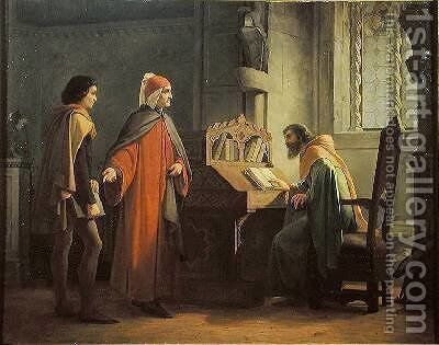 Dante 1265-1321 presenting Giotto 1266-1337 to Guido da Polenta by Giovanni Mochi - Reproduction Oil Painting