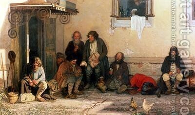 Dinner at the Zemstvo 1872 by Grigori Grigorievich Mjasoedov - Reproduction Oil Painting