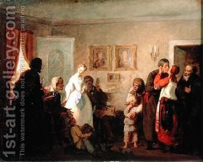 Congratulating the NewlyWeds in a Manor House 1860 by Grigori Grigorievich Mjasoedov - Reproduction Oil Painting