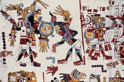 King Eight Deer Jaguar Claw of Tilantongo Captures FourWind by Mixtec - Reproduction Oil Painting