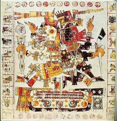 Facsimile copy of a page of the Borgia codex depicting Death and Life gods placed side by side by Mixtec - Reproduction Oil Painting