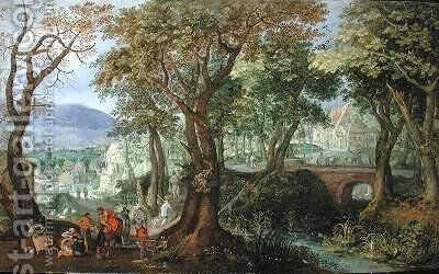 Landscape with the Good Samaritan 1609 by Anton Mirou - Reproduction Oil Painting