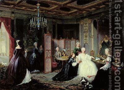 Empress Catherine the Great 1729-96 receiving a letter 1861 by Jan Ostoja Mioduszewski - Reproduction Oil Painting