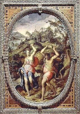 Deucalion and Pyrrha 1572 by Andrea di Mariotto del Minga - Reproduction Oil Painting