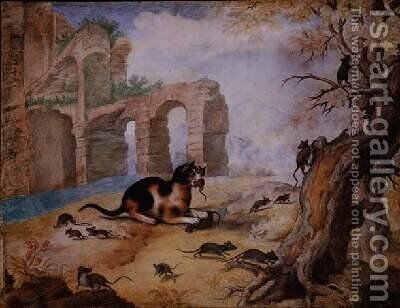 Cat killing mice in a landscape by Gottfried Mind or Mindt - Reproduction Oil Painting