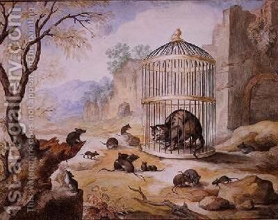 A Cat in a Cage by Gottfried Mind or Mindt - Reproduction Oil Painting
