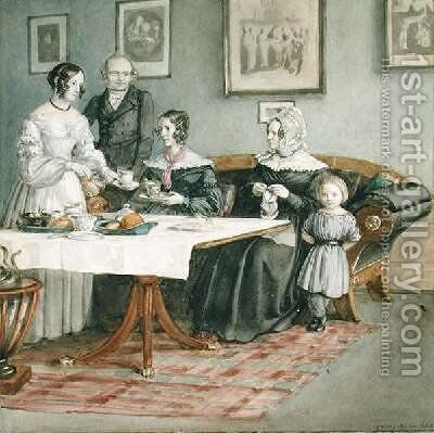 Professor Johannes Classen 1805-91 and Family 1840 by Carl Julius Milde - Reproduction Oil Painting