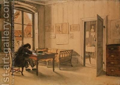 Erwin Speckter in his Munich Home by Carl Julius Milde - Reproduction Oil Painting