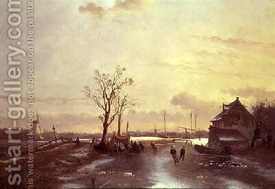 Winter Scene 1853 by J. Anton Mignon - Reproduction Oil Painting