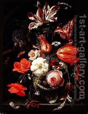 A Still Life of Flowers in a Glass Bowl by Abraham Mignon - Reproduction Oil Painting
