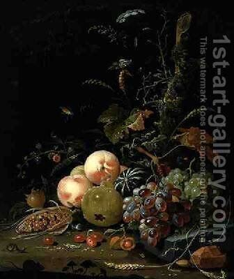Still life with fruit and corn by Abraham Mignon - Reproduction Oil Painting