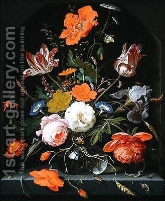 Still life of flowers in a glass vase by Abraham Mignon - Reproduction Oil Painting