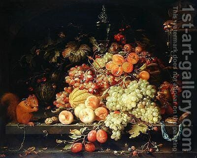 Still Life with Fruit Squirrel and Goldfinch by Abraham Mignon - Reproduction Oil Painting