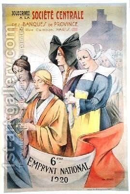 Poster advertising the Sixth National Loan 1920 by Abel Mignon - Reproduction Oil Painting