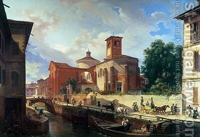 Via Fatabene Fratelli Milan 1830 by Giovanni Migliara - Reproduction Oil Painting