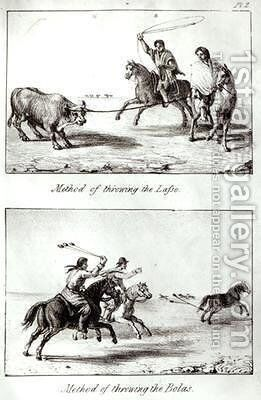 Methods of Throwing the Lasso and the Bolas from Travels in Chile and La Plata by John Miers 1826 by (after) Miers, John - Reproduction Oil Painting