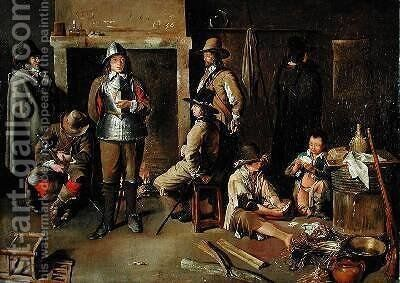 Soldiers at Rest in an Inn by Jean Michelin - Reproduction Oil Painting