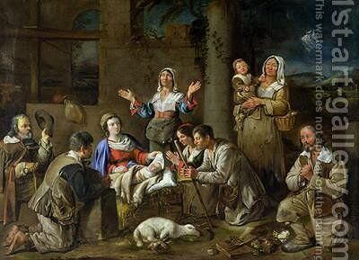 Adoration of the Shepherds 1659 by Jean Michelin - Reproduction Oil Painting