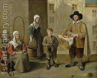 The Bread Seller and Water Carriers by Jean Michelin - Reproduction Oil Painting
