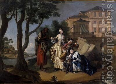 Fortune Telling Gypsy 1762 by Jakob Michel - Reproduction Oil Painting