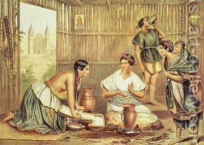 Indians Preparing Tortillas from An Album of the Mexican Republic by (after) Michaud, Julio - Reproduction Oil Painting