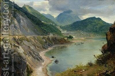View of the Town and Gulf of Salerno by Achille-Etna Michallon - Reproduction Oil Painting
