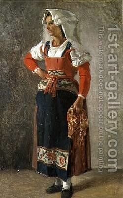 Portrait of a Peasant from the Environs of Rome by Achille-Etna Michallon - Reproduction Oil Painting
