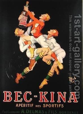 Poster advertising Bec-Kina French aperitif 1910 by (Michel Liebaux) Mich - Reproduction Oil Painting