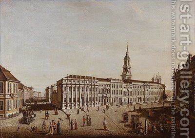 View of Castle Street and the Fiaker Square Potsdam 1773 by Johann Friedrich Meyer - Reproduction Oil Painting