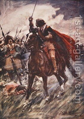 Through their ranks rode Wallenstein drawn sword in hand illustration from A History of Germany by A.C. Michael - Reproduction Oil Painting
