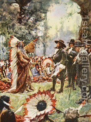 William Penns treaty with the Indians illustration from This Country of Ours The Story of the United States by A.C. Michael - Reproduction Oil Painting