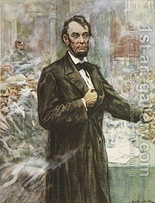 Abraham Lincoln the great Emancipator illustration from This Country of Ours The Story of the United States by A.C. Michael - Reproduction Oil Painting